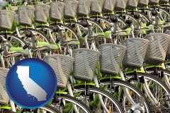 california map icon and bicycles for rent