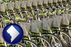 washington-dc map icon and bicycles for rent