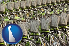 delaware map icon and bicycles for rent