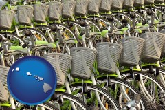 hawaii map icon and bicycles for rent