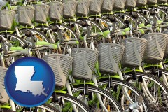 louisiana map icon and bicycles for rent