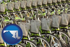 maryland map icon and bicycles for rent