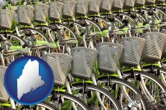 maine map icon and bicycles for rent