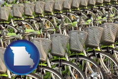 missouri map icon and bicycles for rent