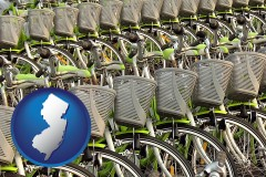 new-jersey map icon and bicycles for rent