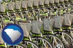 south-carolina map icon and bicycles for rent