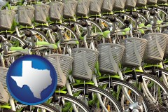 texas map icon and bicycles for rent