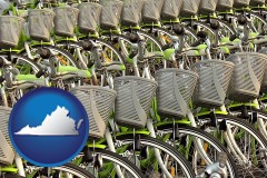 virginia map icon and bicycles for rent