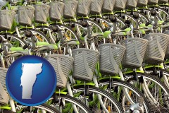 vermont map icon and bicycles for rent