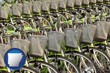 bicycles for rent - with Arkansas icon