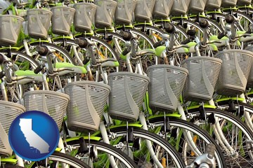 bicycles for rent - with California icon