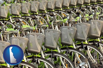 bicycles for rent - with Delaware icon