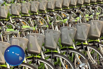 bicycles for rent - with Hawaii icon