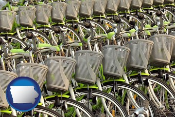 bicycles for rent - with Iowa icon