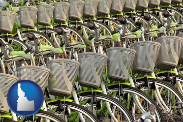 bicycles for rent - with Idaho icon