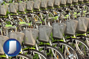 bicycles for rent - with Indiana icon