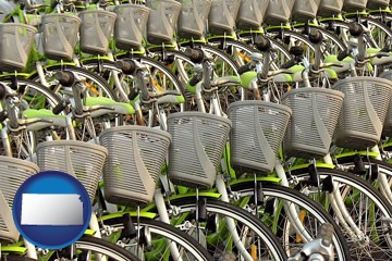 bicycles for rent - with Kansas icon