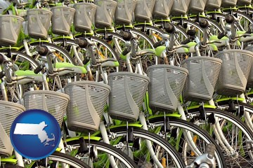 bicycles for rent - with Massachusetts icon