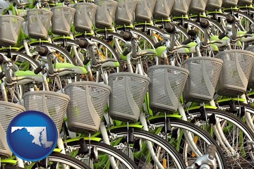 bicycles for rent - with Maryland icon