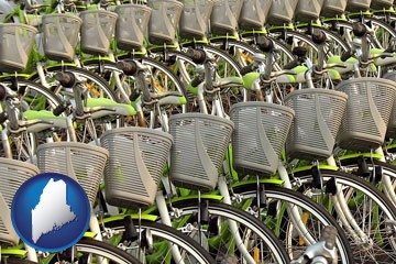 bicycles for rent - with Maine icon
