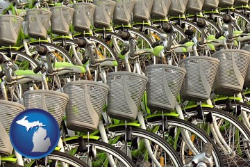 bicycles for rent - with Michigan icon
