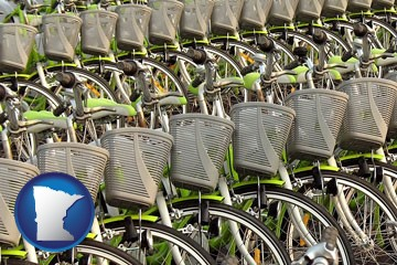 bicycles for rent - with Minnesota icon
