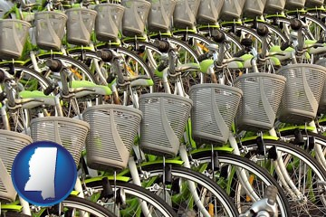 bicycles for rent - with Mississippi icon
