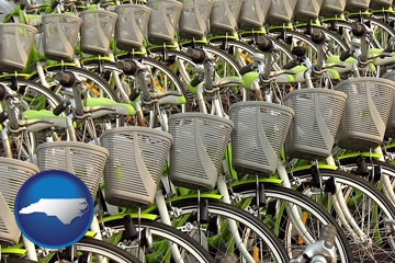 bicycles for rent - with North Carolina icon