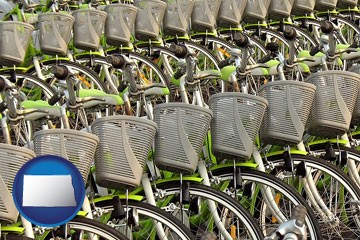 bicycles for rent - with North Dakota icon