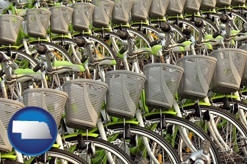 bicycles for rent - with Nebraska icon