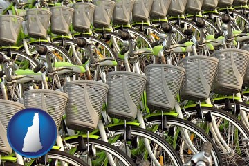 bicycles for rent - with New Hampshire icon