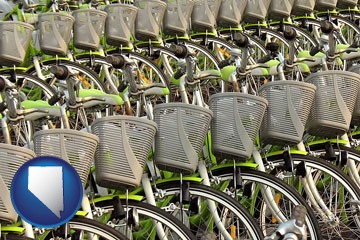 bicycles for rent - with Nevada icon