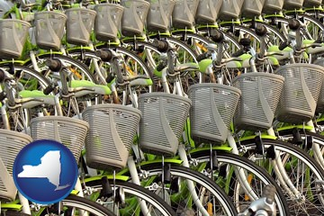 bicycles for rent - with New York icon