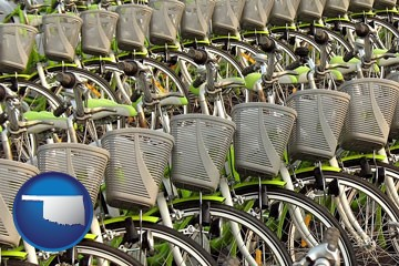 bicycles for rent - with Oklahoma icon