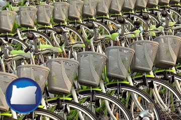 bicycles for rent - with Oregon icon
