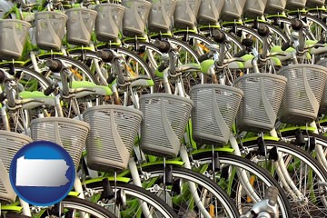 bicycles for rent - with Pennsylvania icon