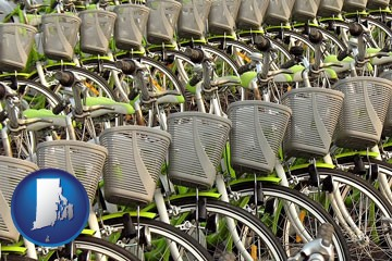 bicycles for rent - with Rhode Island icon