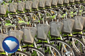 bicycles for rent - with South Carolina icon