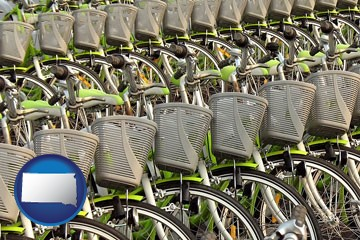 bicycles for rent - with South Dakota icon