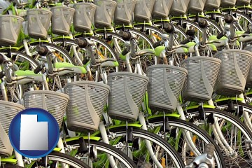 bicycles for rent - with Utah icon