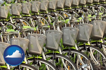 bicycles for rent - with Virginia icon
