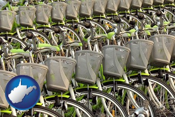 bicycles for rent - with West Virginia icon
